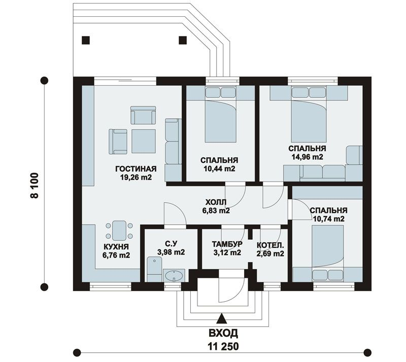 Дом с мансардой, план первого этажа