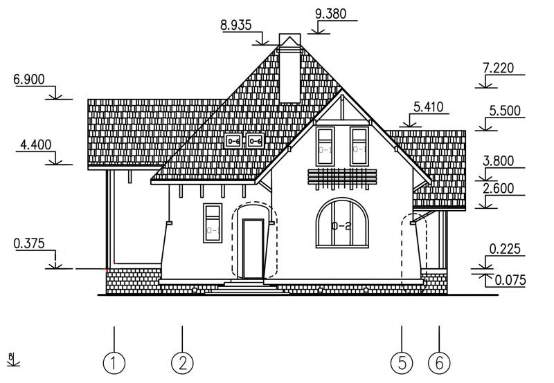 Внешний чертеж постройки с размерами