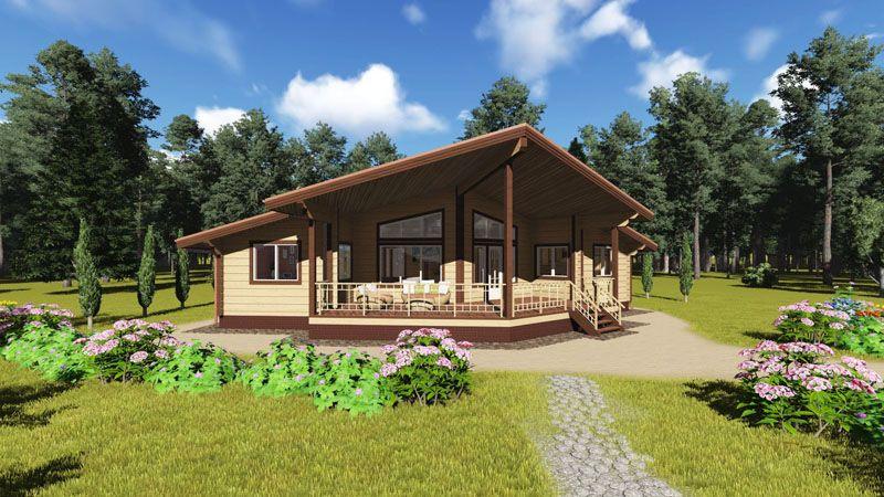 Готовый дизайнерский дом из древесины с большой открытой терраской