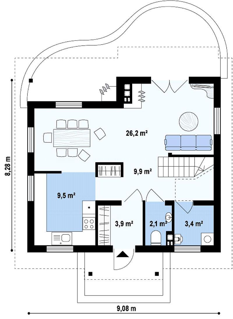 Расположение комнат и силуэт терраски