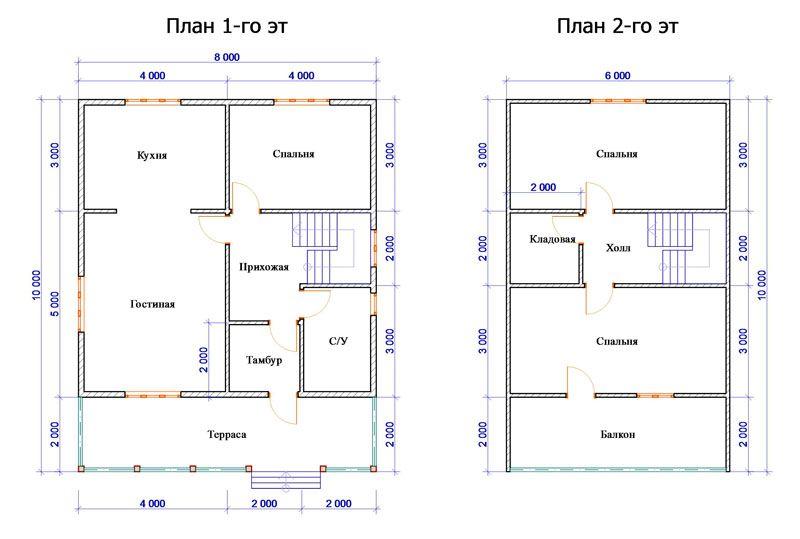 Вариант расположения комнат с мансардным этажом