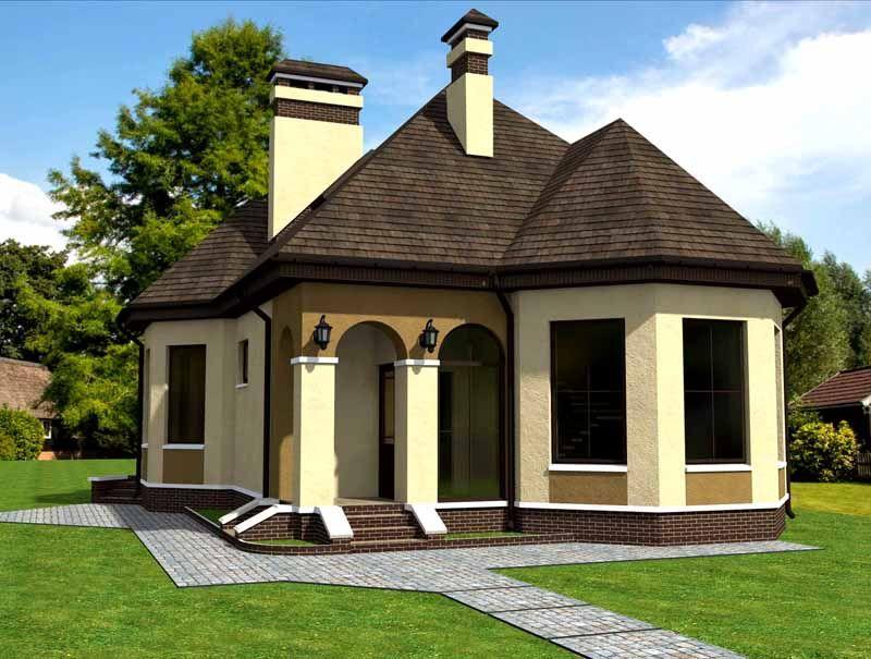 Готовая постройка с панорамными окнами и арочными проемами