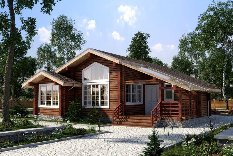 Деревянный домик с мансардой и панорамными оконными проемами