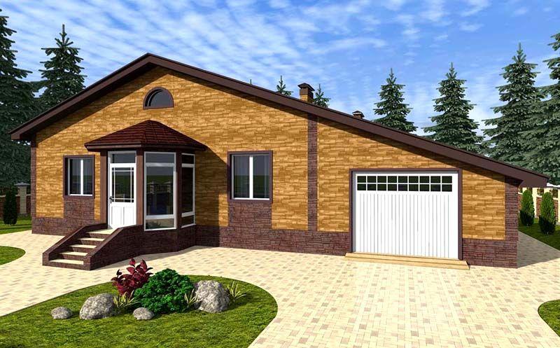 Современный проект с одной крышей для дома и гаража