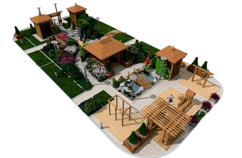 Компактное размещение построек во дворе
