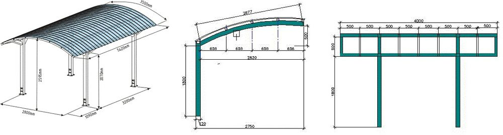 Примерные размеры сооружения