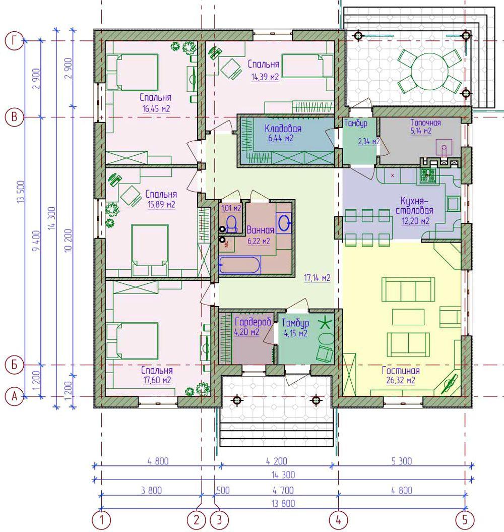Подробный план распределения комнат