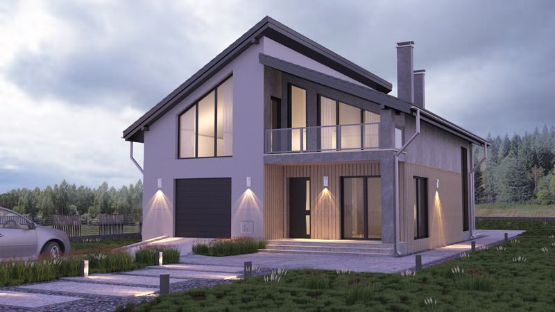 Современный дом с мансардой в стиле Хай-Тек