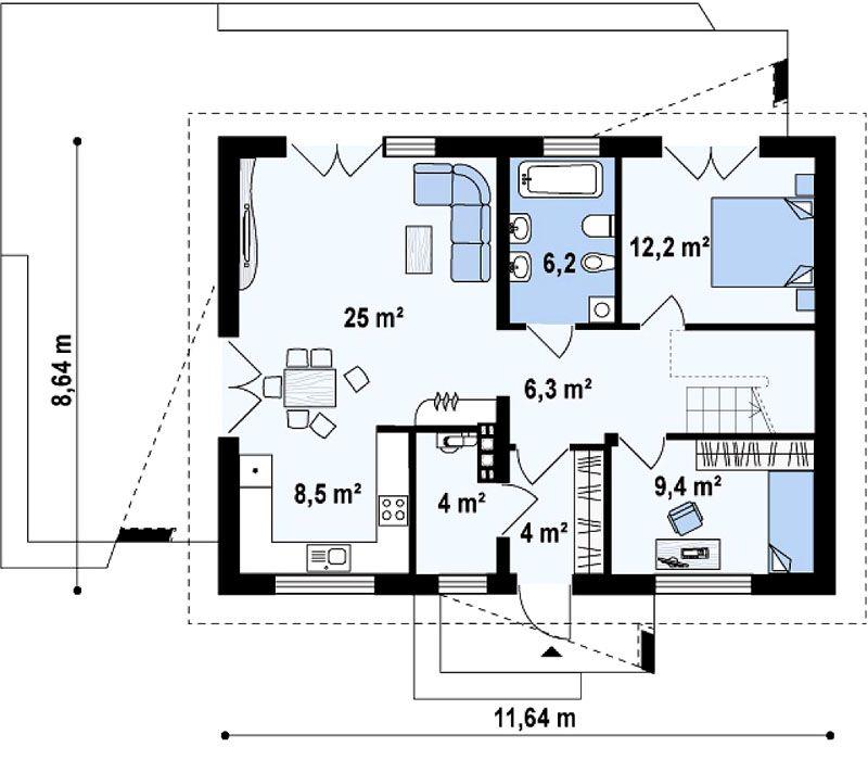 Стандартный план домика 10 на 8 м