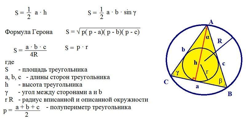 Вариант вычисления для комнат в виде треугольника
