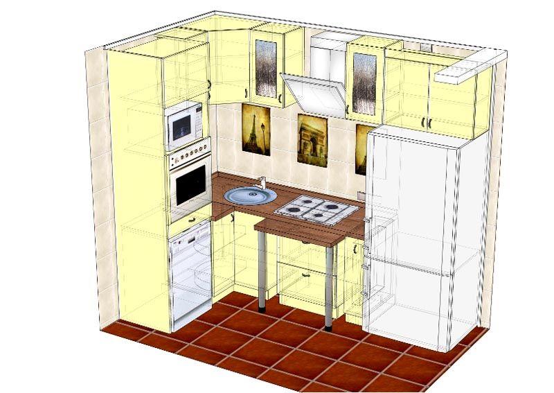 Объемный проект оснащения и дизайна угловой маленькой кухни