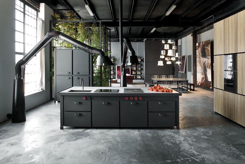 Фото черного интерьера кухни