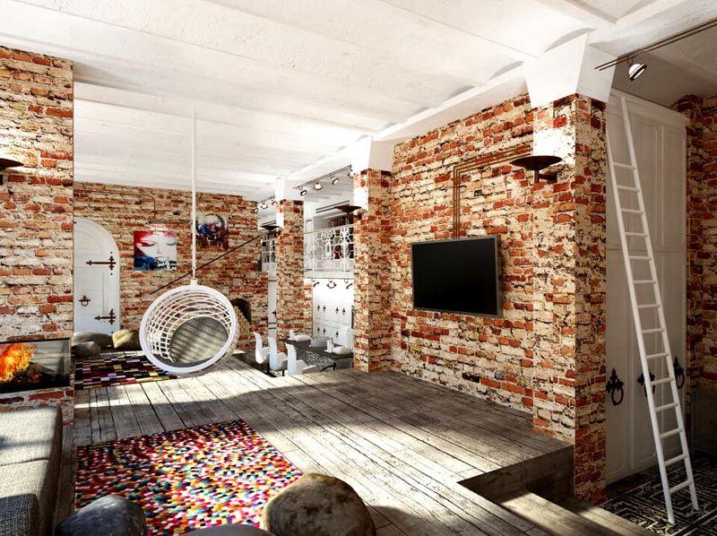 Стены с оформлением под кирпич или камень придают помещению ощущение фабричности