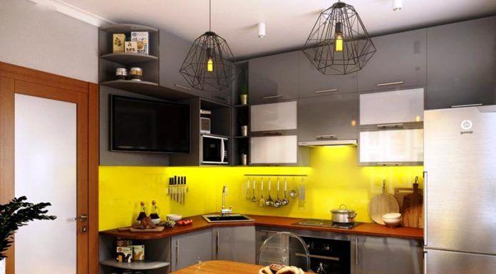 Серая кухня в интерьере вполне соответствует канонам рассматриваемого стиля. Желтый фартук и деревянные вставки «оживляют» внешний вид