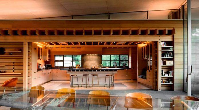 Кухня, как отдельный архитектурный объект в крупной комнате