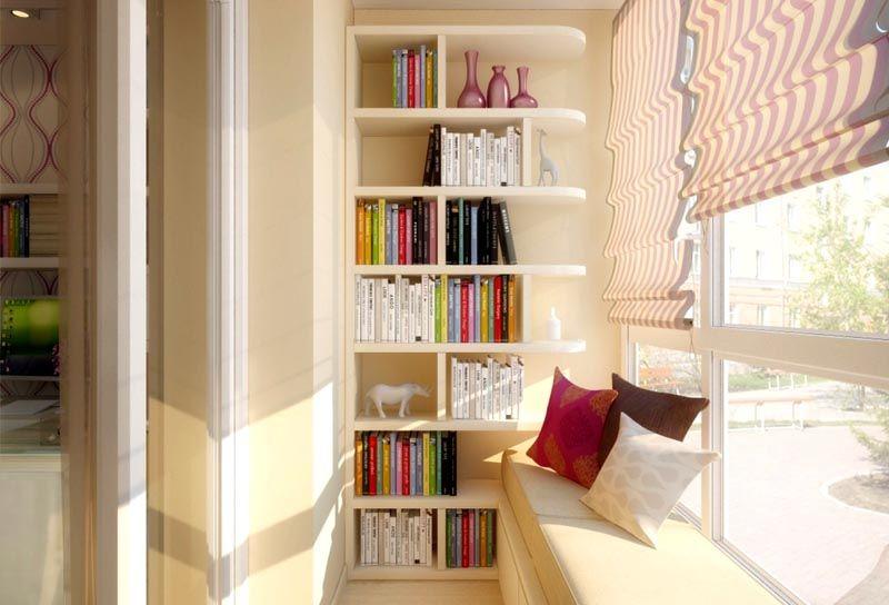Компактная библиотека с удобным пуфиком