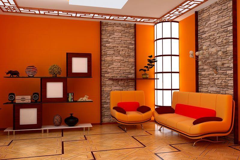 Сочетание оранжевого с имитацией камня