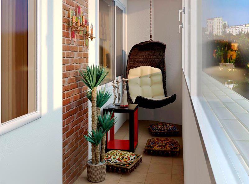 Дизайн на балконе можно дополнить необычными предметами интерьера