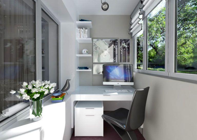 Фото дизайнов лоджий под кабинет.