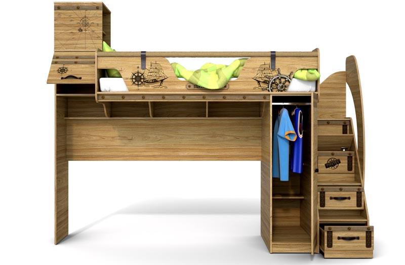 Фасады кровати-чердака «Корсара» оформлены в морском стиле