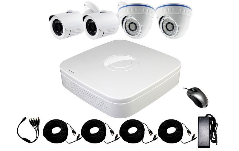 Готовый комплект видеонаблюдения для дачи с камерами разного типа