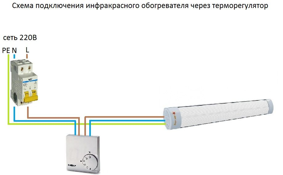 Схема подключения инфракрасного обогревателя через терморегулятор