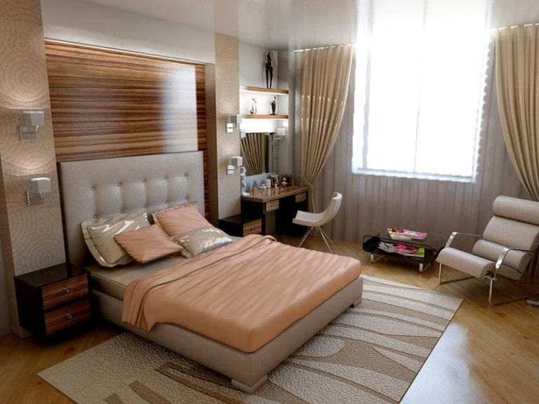 Интерьер спальни с ламинатом фото
