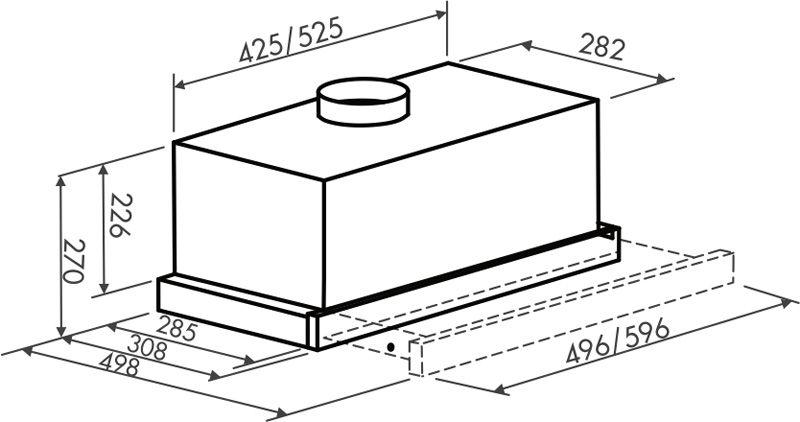 Вариант вытяжки с отводной системой с определенными размерами