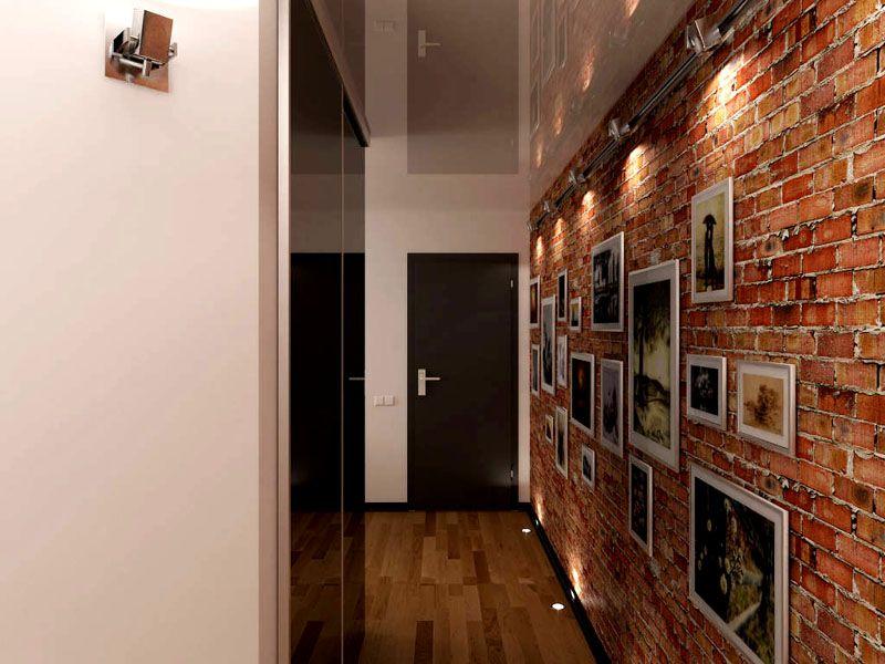 Гладкие поверхности великолепно смотрятся в контрасте со стеной из кирпича