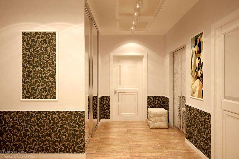 Интерьер классической прихожей дополняется обычными обойными полотнами