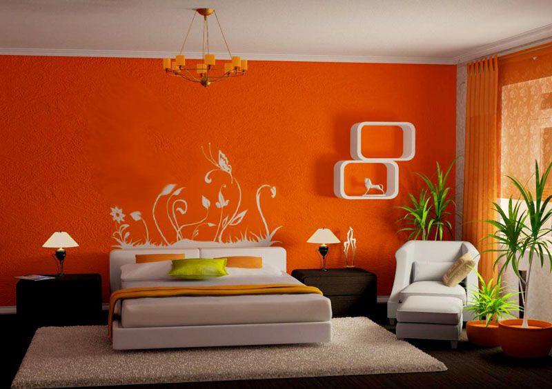 Спальня в оранжевом цвете вызывает жизнерадостное настроение, но не особенно настраивает на отдых