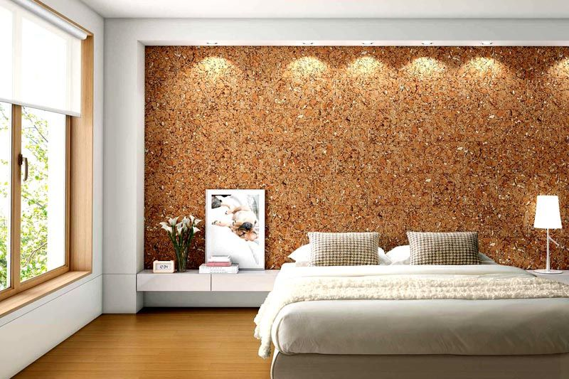 Пробковые поверхности органично вписываются в интерьер спальни
