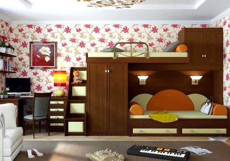 Модель с диваном делает помещение более уютным и домашним