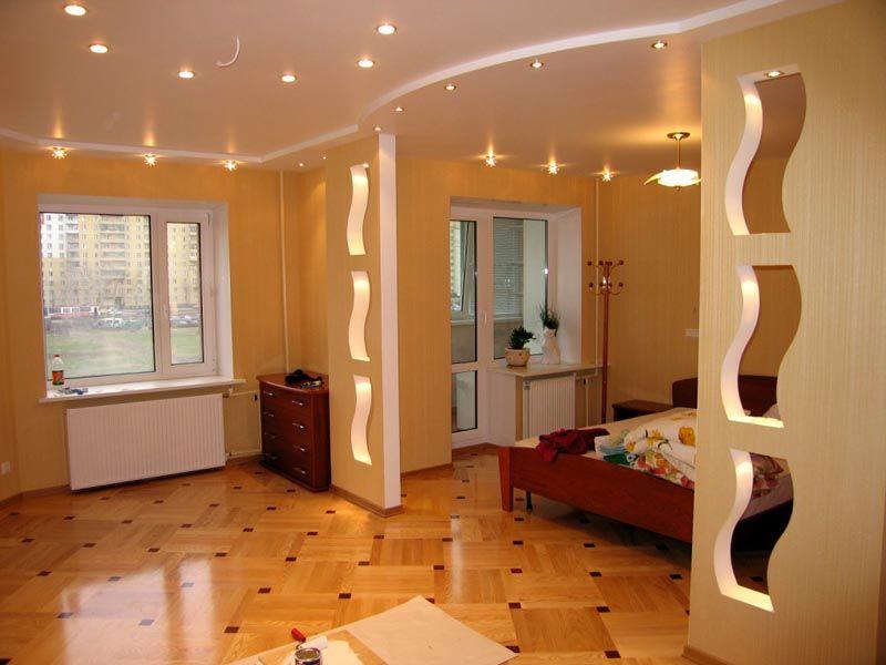 Простой материал позволяет необычно оформить обычное помещение. С его помощью выполняется превосходное зонирование