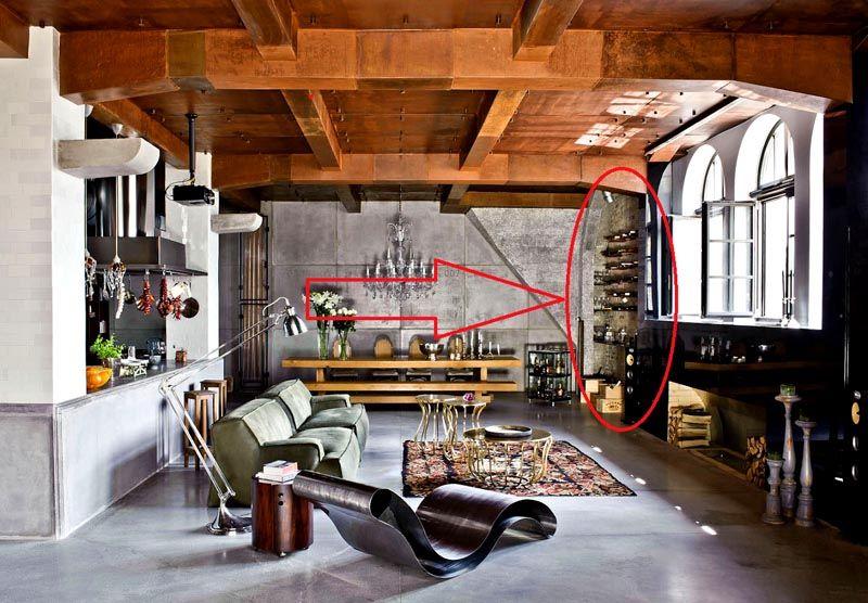 Здесь плитка под кирпич (лофт стиль) использована для отделки ниши