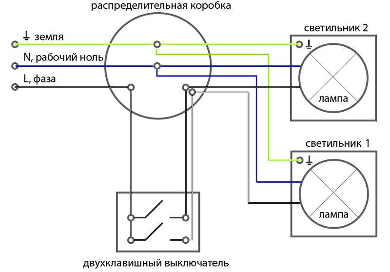 Схема 2х кнопочного выключателя с заземлением