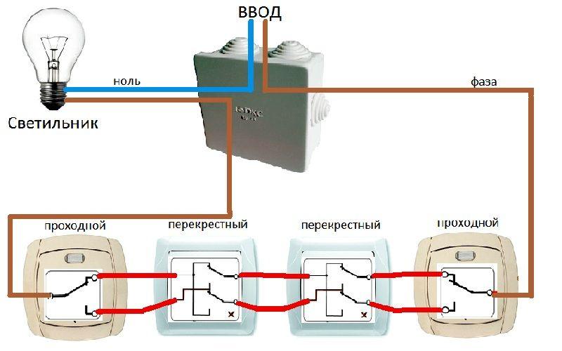 Схема подключения лампы к четырем выключателям