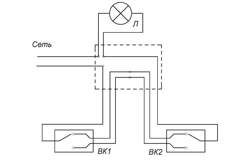 Проходной выключатель позволяет замкнуть одну из двух цепей