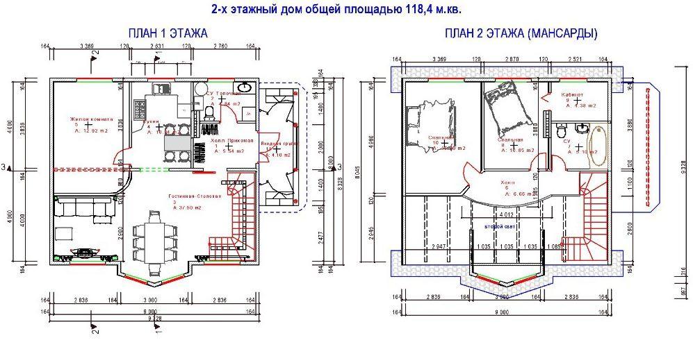 Типовой план двухэтажного этажа