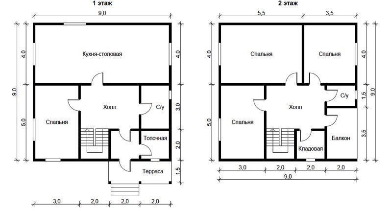 Типовая планировка дома 9*9