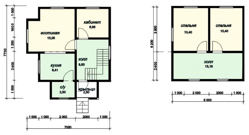 Типовой двухэтажный дом 7х7 м