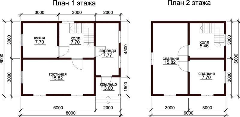 Компактный двухэтажный домик