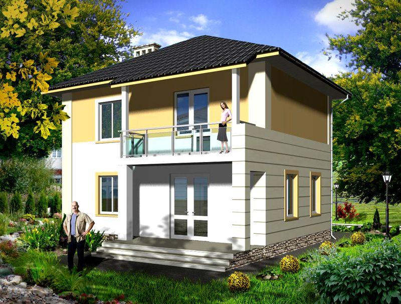 Дом из пеноблоков с балконом