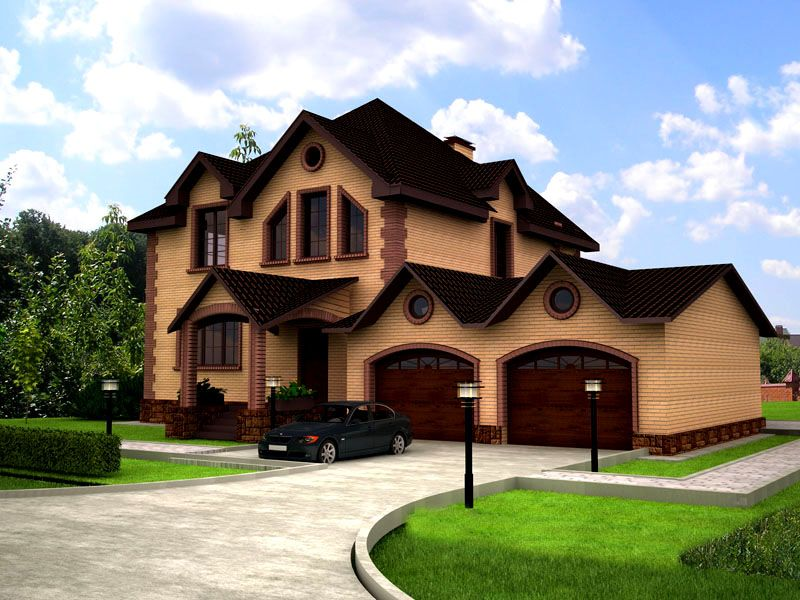 Двухэтажный дом с 2 гаражами