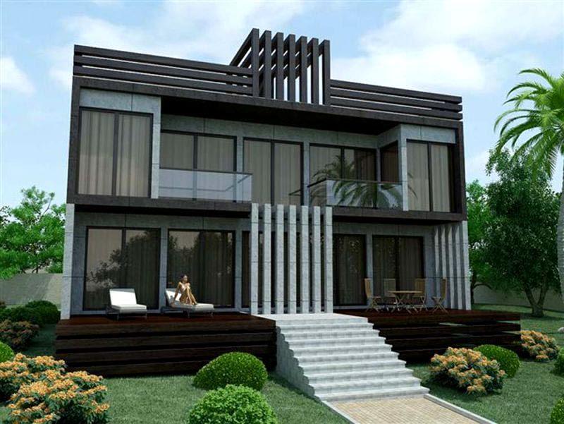 Двухэтажный дом из легкого металлического каркаса