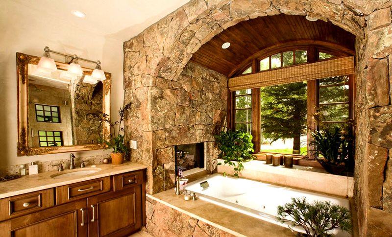 Оформление ванной камнем – оригинальная дизайнерская идея