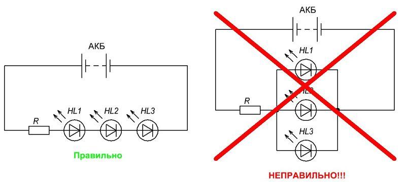 Исключите подключение светодиодов параллельно к одному резистору