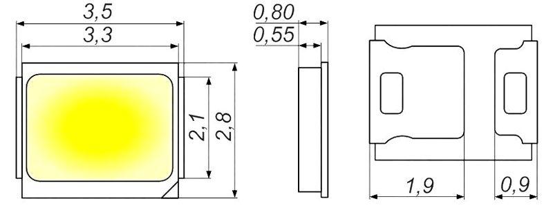 В маркировке светодиодов зашифрованы размеры. 2835 SMD – это 2,8 мм глубина и 3,5 мм ширина по максимальным габаритам корпуса