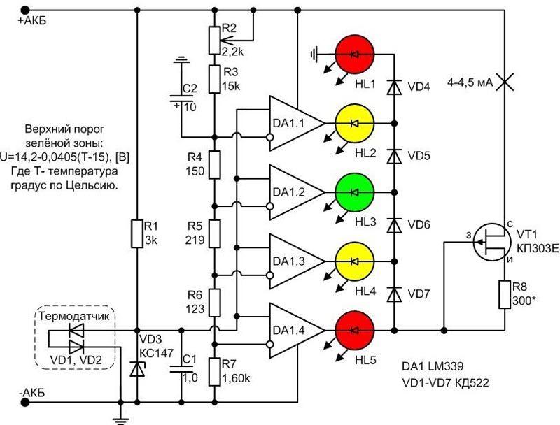 Схема точного индикатора напряжения для автомобиля. Здесь предусмотрена компенсация измерений при повышении/уменьшении температуры