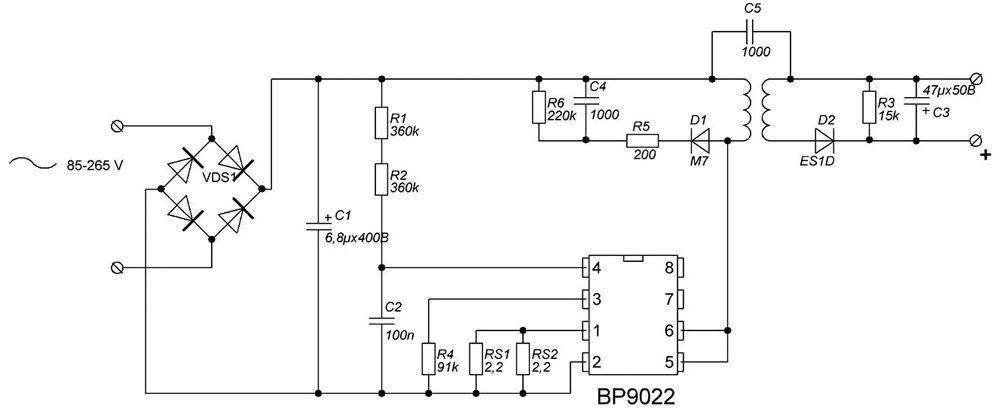 Эта схема подойдет для подключения светодиодов общей мощностью до 1 Вт